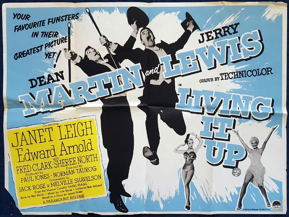 LIVING IT UP British Quad Movie poster Dean Martin Jerry Lewis