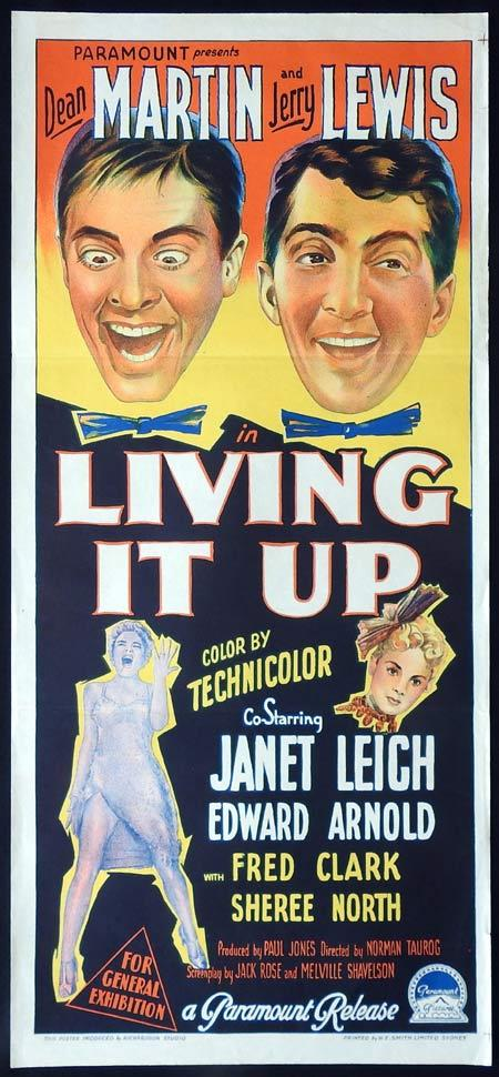 LIVING IT UP Original daybill Movie PosterDean Martin Jerry Lewis Janet Leigh