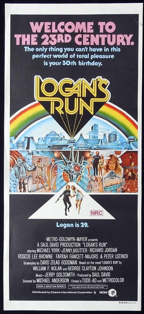 LOGAN'S RUN Original Daybill Movie Poster Michael York Richard Jordan