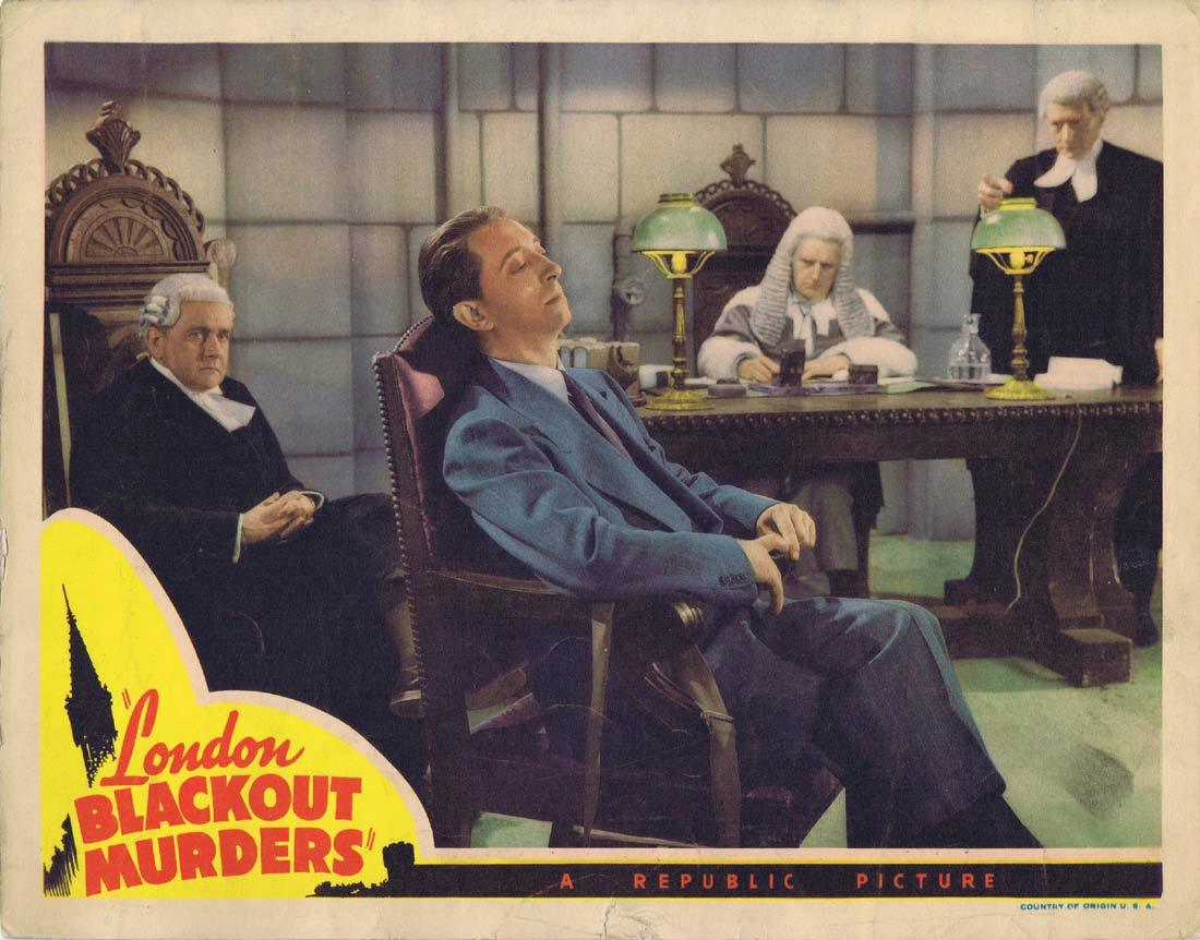 LONDON BLACKOUT MURDERS Original Lobby Card 3 John Abbott Mary McLeod Lloyd Corrigan 1943