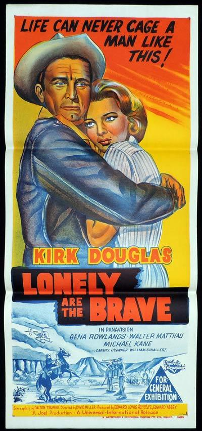 LONELY ARE THE BRAVE Original Daybill Movie Poster Kirk Douglas