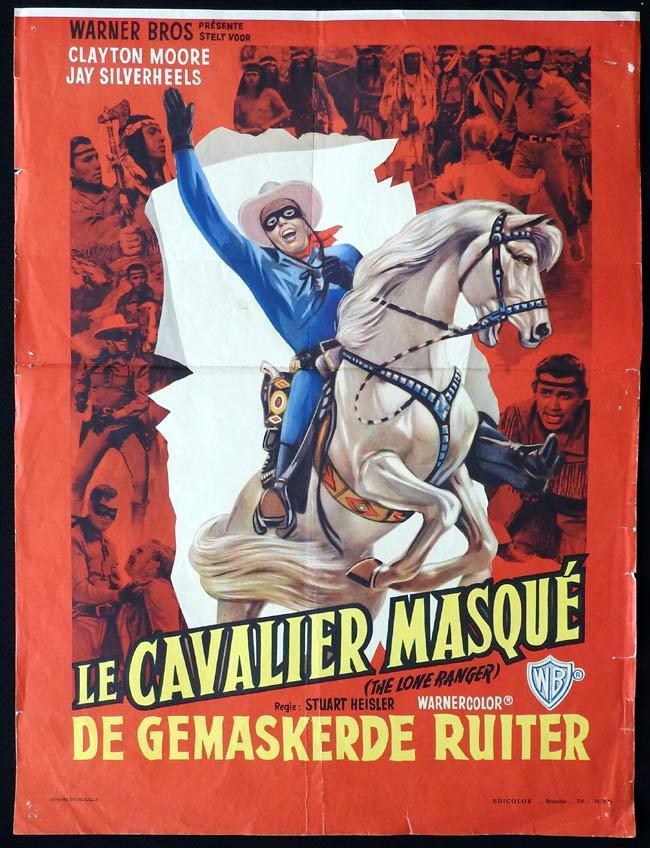 THE LONE RANGER Original Belgian Movie Poster Clayton Moore