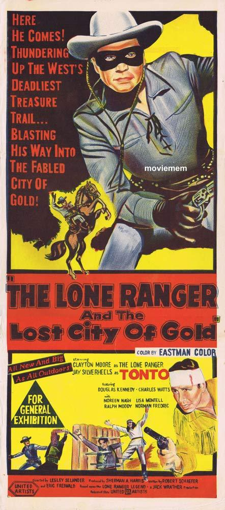 THE LONE RANGER AND THE LOST CITY OF GOLD Original Daybill Movie Poster Clayton Moore