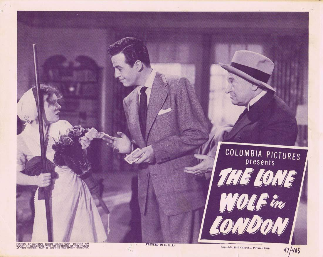 THE LONE WOLF IN LONDON Original Lobby Card Gerald Mohr Nancy Saunders Eric Blore