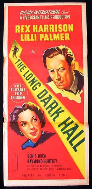 THE LONG DARK HALL Original Daybill Movie poster Rex Harrison