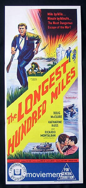 LONGEST HUNDRED MILES Doug McClure ORIGINAL Daybill Movie poster