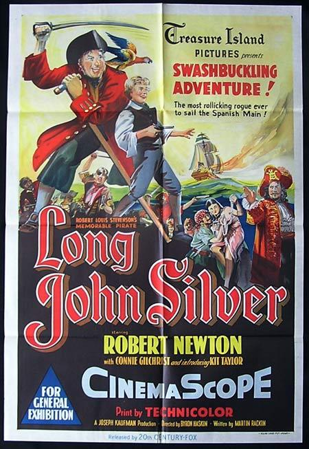 LONG JOHN SILVER 1954 RARE Australian One Sheet Movie poster
