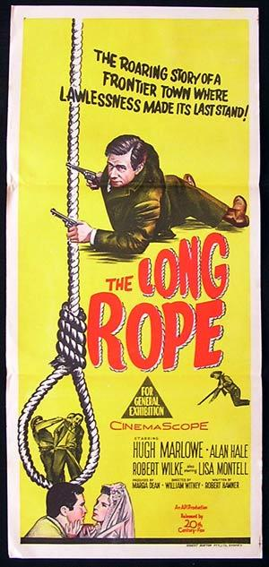 THE LONG ROPE '61 Hugh Marlowe RARE ORIGINAL poster