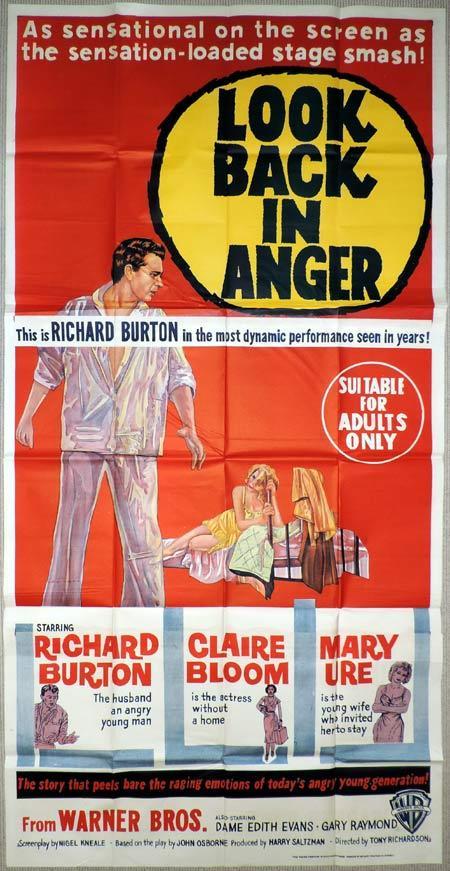 LOOK BACK IN ANGER Original 3 Sheet Movie Poster Richard Burton Claire Bloom
