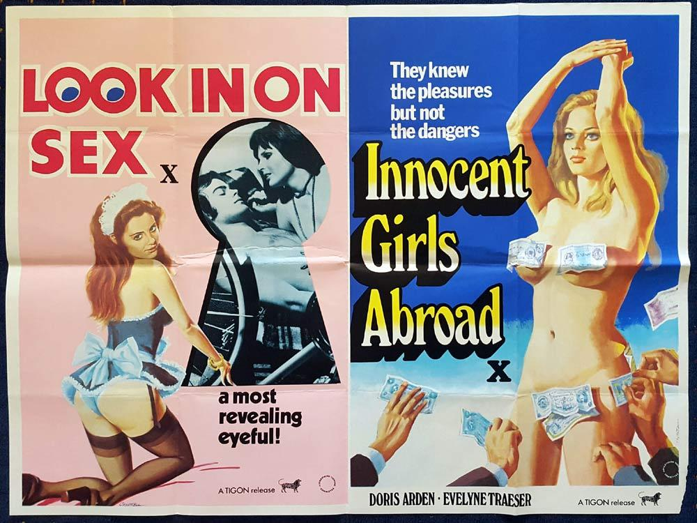 LOOK IN ON SEX / INNOCENT GIRLS ABROAD Double Bill British Quad Movie poster Sexploitation art