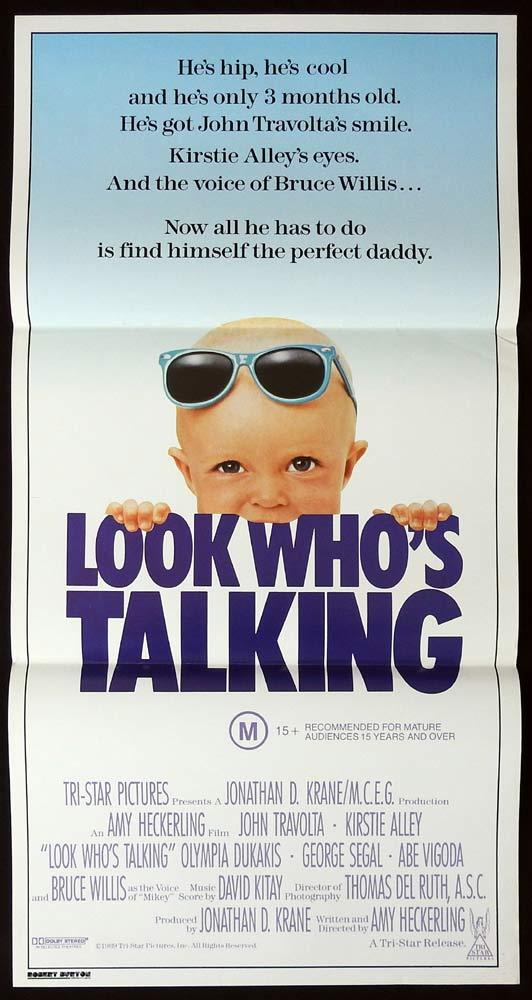 LOOK WHO'S TALKING Original Daybill Movie Poster John Travolta Kirstie Alley