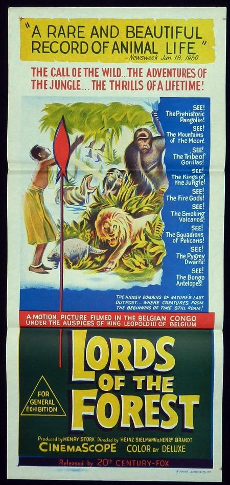 LORDS OF THE FOREST aka MASTERS OF THE CONGO JUNGLE Original Daybill Movie Poster Rod Steiger Graham Greene