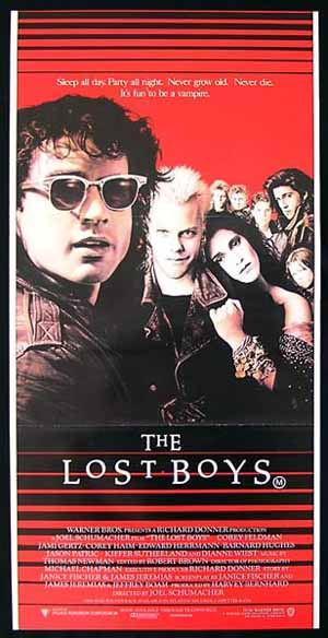 THE LOST BOYS 1987 Keifer Sutherland VAMPIRE daybill Movie Poster
