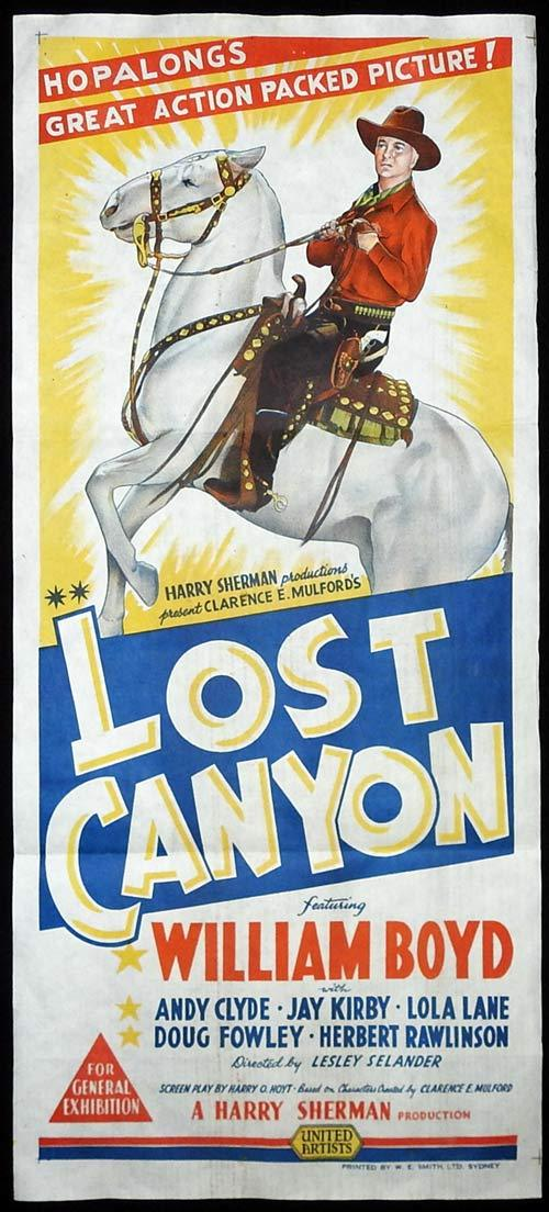 LOST CANYON Original Daybill Movie poster Hopalong Cassidy 1942