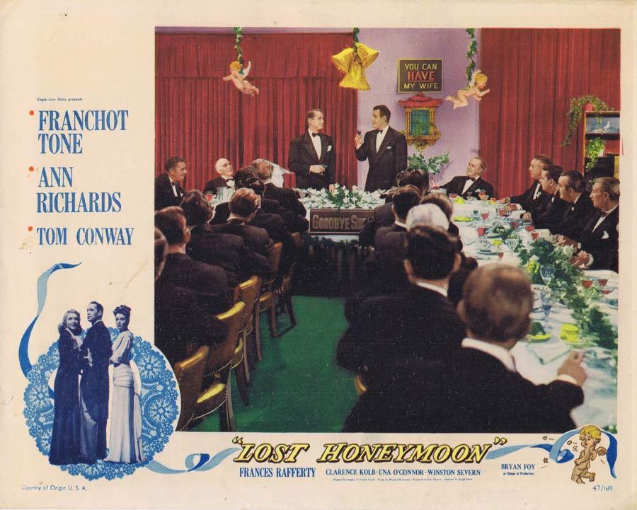 LOST HONEYMOON Lobby Card 2 Ann Richards Franchot Tone Tom Conway