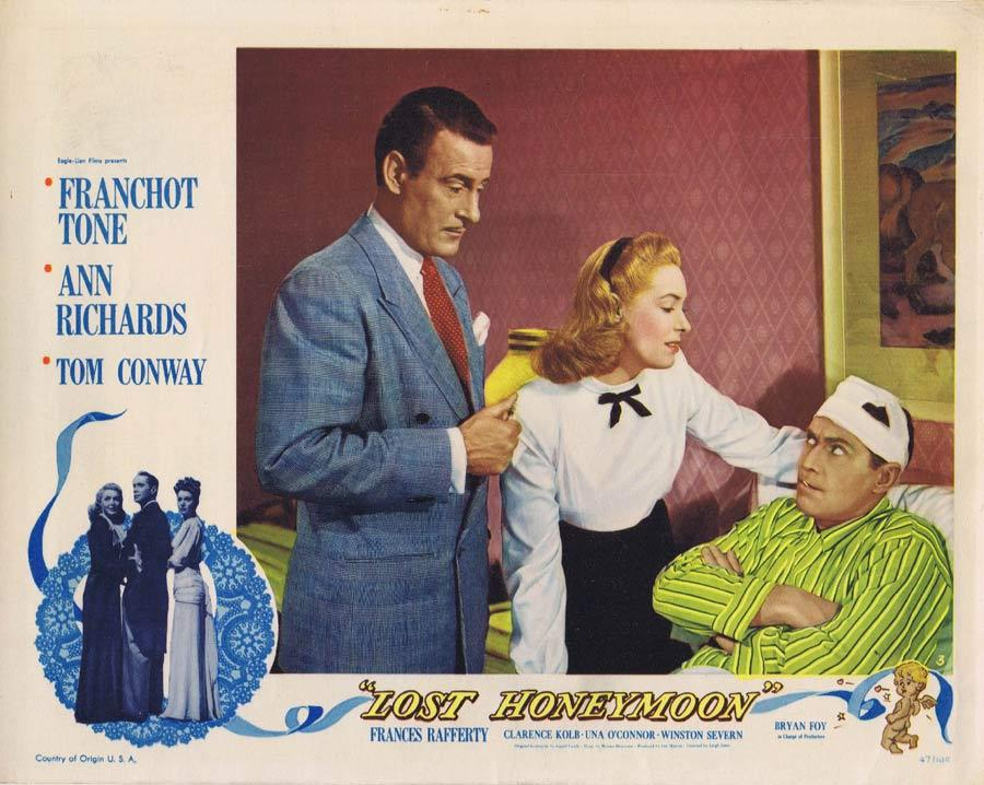 LOST HONEYMOON Lobby Card 3 Ann Richards Franchot Tone Tom Conway