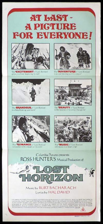 LOST HORIZON daybill Movie poster Peter FInch Liv Ullmann