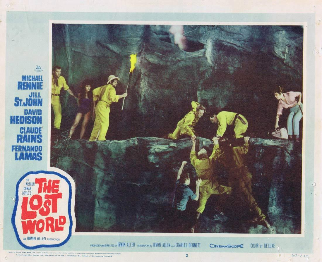 THE LOST WORLD Lobby card 2 Michael Rennie Jill St. John David Hedison
