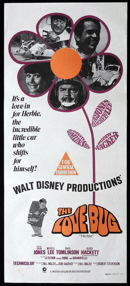 THE LOVE BUG Original Daybill Movie Poster Dean Jones Michele Lee VW