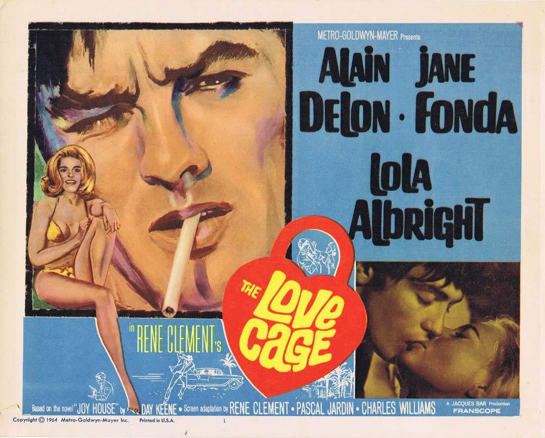 THE LOVE CAGE Title Lobby Card Jane Fonda Alain Delon