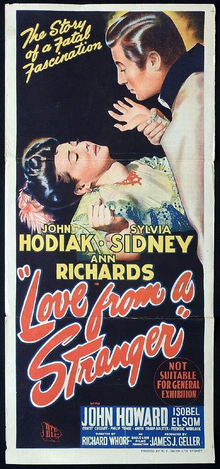 LOVE FROM A STRANGER Original Daybill Movie poster Sylvia Sidney Film Noir