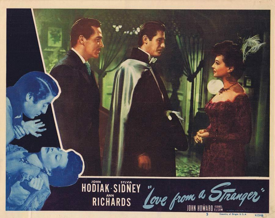 LOVE FROM A STRANGER Lobby Card 5 John Hodiak Sylvia Sidney
