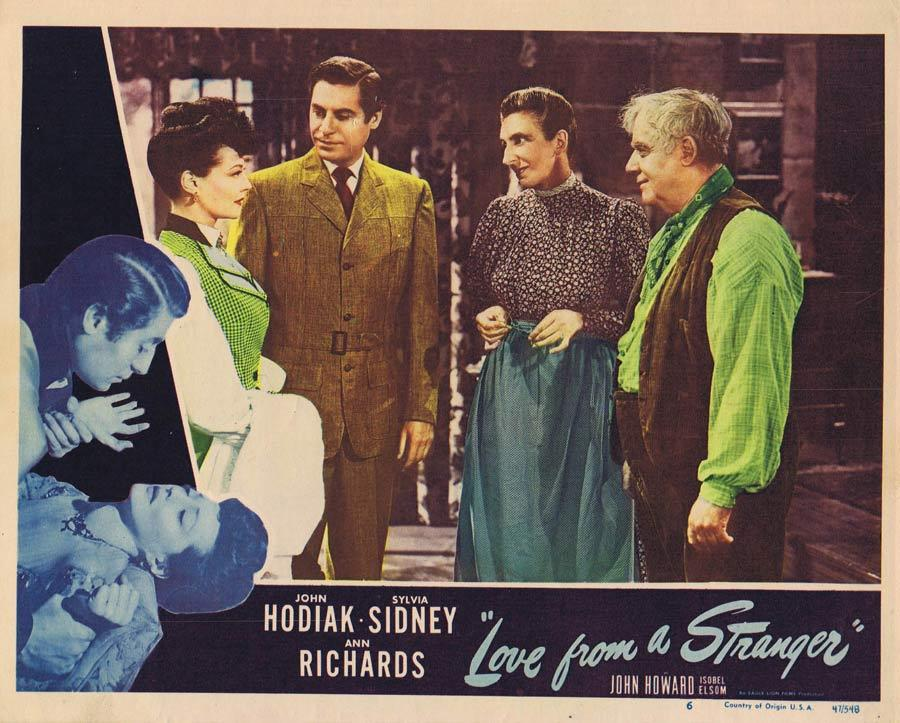 LOVE FROM A STRANGER Lobby Card 6 John Hodiak Sylvia Sidney