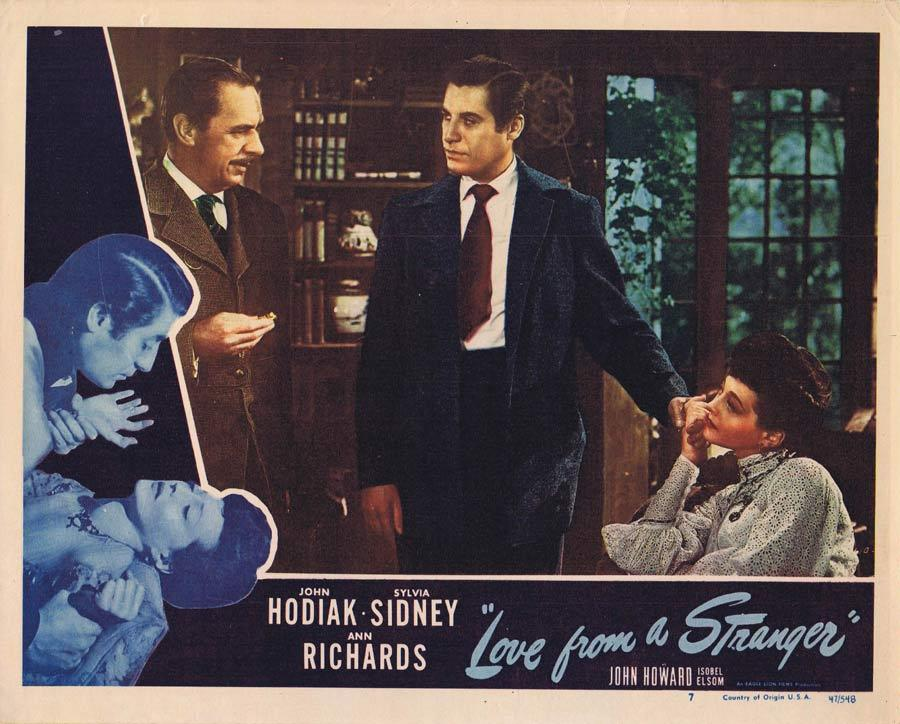 LOVE FROM A STRANGER Lobby Card 7 John Hodiak Sylvia Sidney