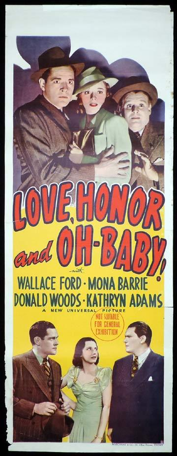 LOVE HONOR AND OH BABY Long Daybill Movie poster 1940 Marchant