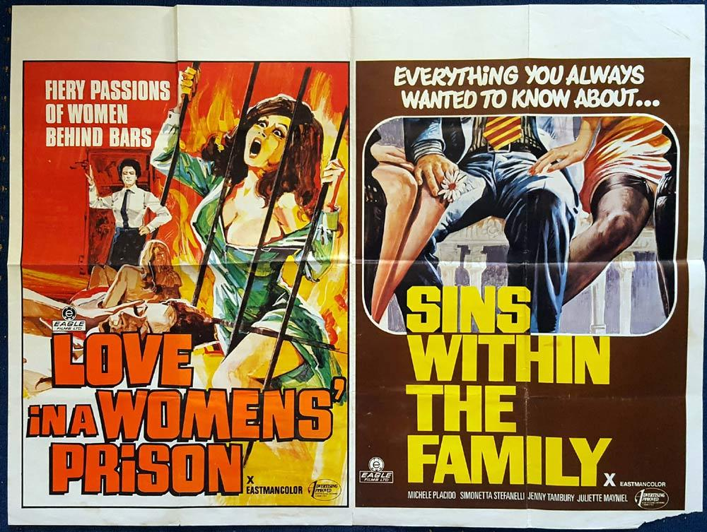 LOVE IN A WOMENS PRISON SINS WITH THE FAMILY Double Bill British Quad Movie Poster