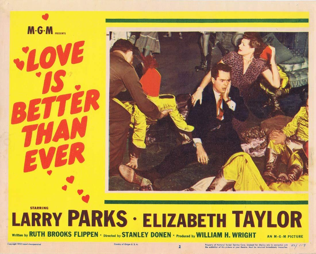 LOVE IS BETTER THAN EVER Lobby Card 2 Larry Parks Elizabeth Taylor