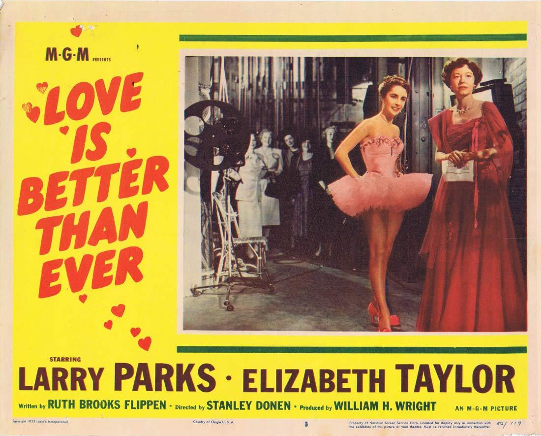 LOVE IS BETTER THAN EVER Lobby Card 3 Larry Parks Elizabeth Taylor