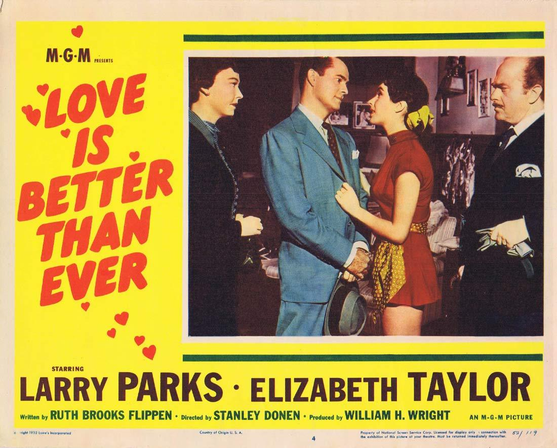 LOVE IS BETTER THAN EVER Lobby Card 4 Larry Parks Elizabeth Taylor