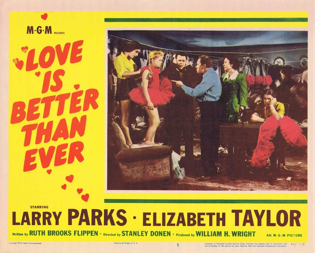 LOVE IS BETTER THAN EVER Lobby Card 5 Larry Parks Elizabeth Taylor