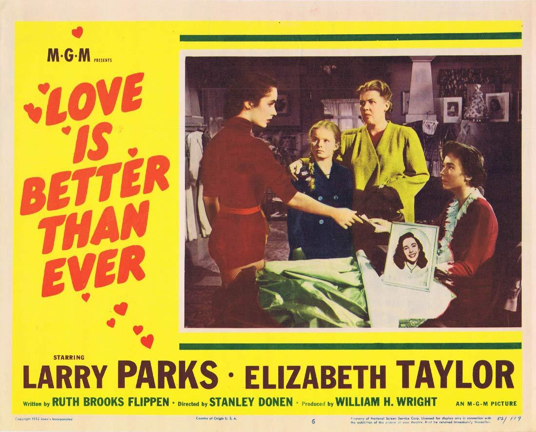 LOVE IS BETTER THAN EVER Lobby Card 6 Larry Parks Elizabeth Taylor