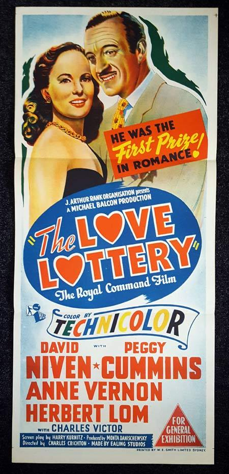 THE LOVE LOTTERY daybill Movie poster David Niven Peggy Cummins