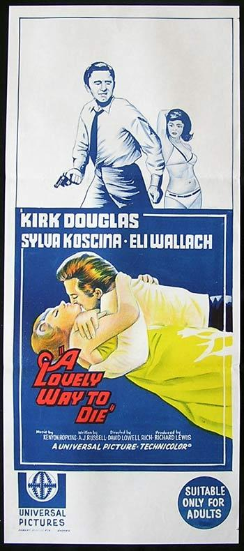 A LOVELY WAY TO DIE Original daybill Movie Poster Kirk Douglas Sylva Koscina Eli Wallach