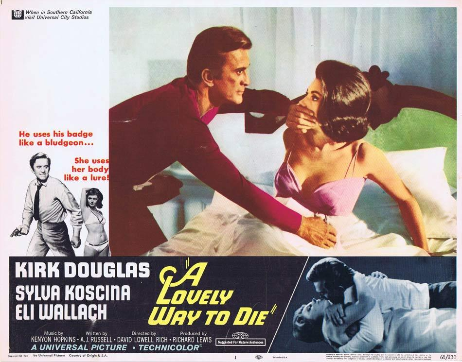 A LOVELY WAY TO DIE Lobby Card 1 Kirk Douglas Sylva Koscina Eli Wallach