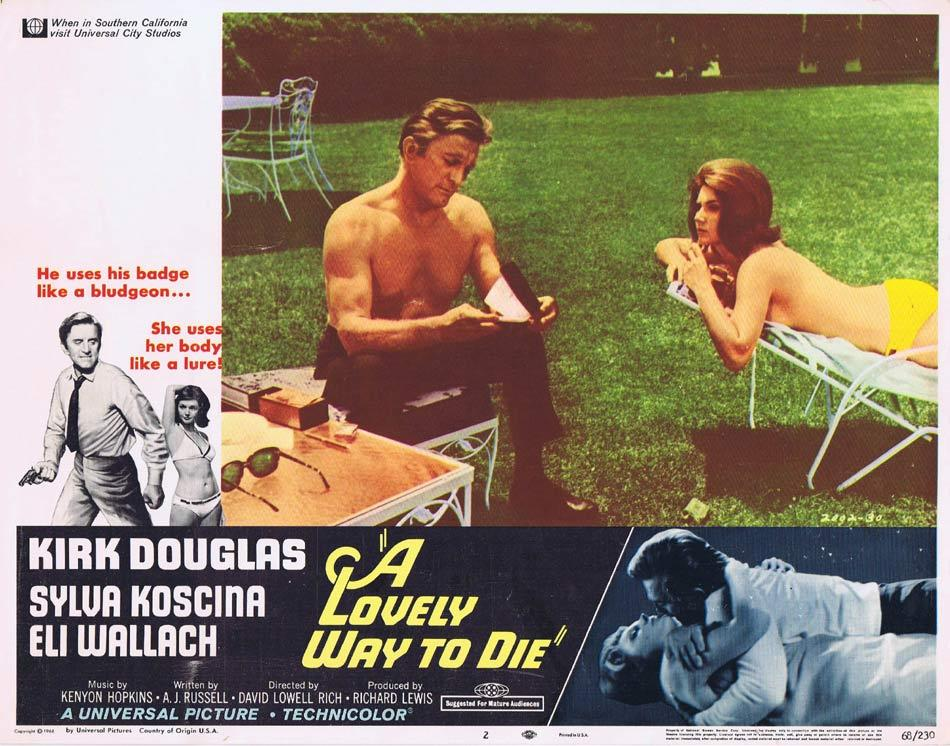A LOVELY WAY TO DIE Lobby Card 2 Kirk Douglas Sylva Koscina Eli Wallach