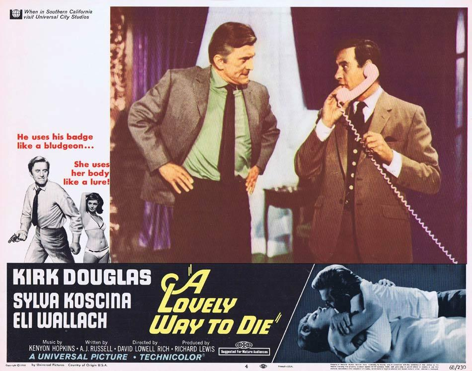 A LOVELY WAY TO DIE Lobby Card 4 Kirk Douglas Sylva Koscina Eli Wallach
