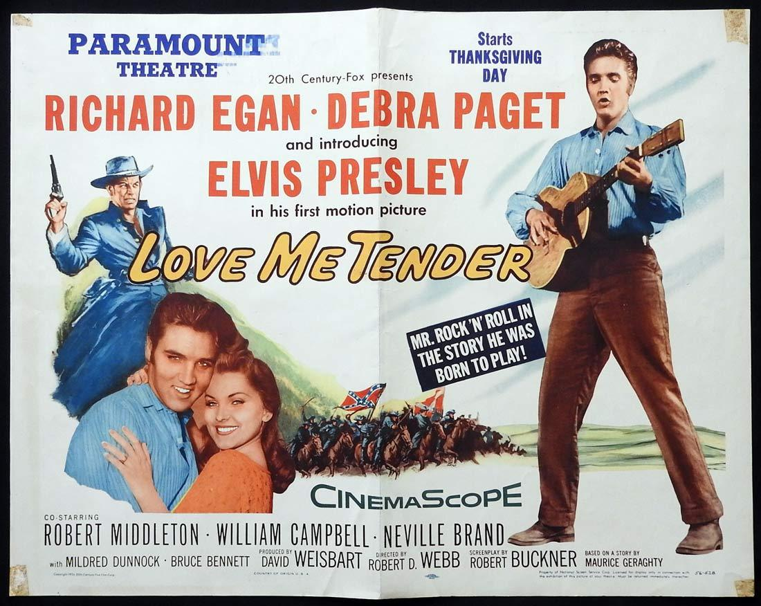 LOVE ME TENDER Original US HALF SHEET Movie Poster Elvis Presley