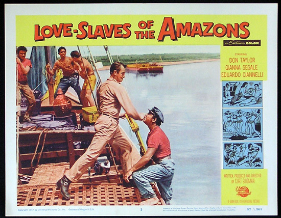 LOVE SLAVES OF THE AMAZON Lobby card 3 1957 Jungle Women