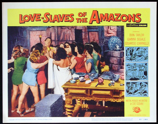 LOVE SLAVES OF THE AMAZON Lobby card 5 1957 Jungle Women