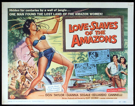 LOVE SLAVES OF THE AMAZON Title Lobby card 1957 Jungle Women