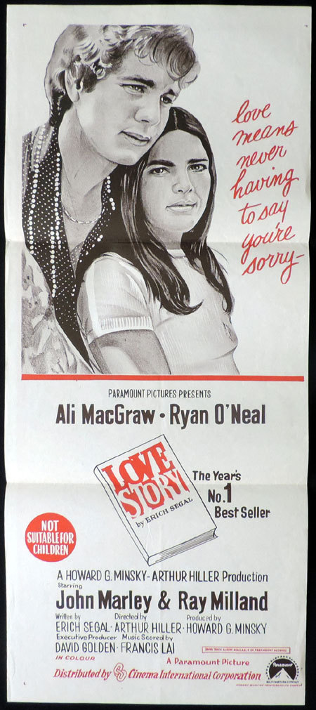 LOVE STORY Daybill Movie Poster Ryan O'Neal Ali MacGraw