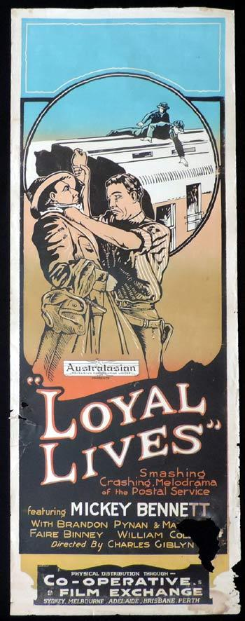 LOYAL LIVES Long Daybill Movie poster 1923 Postal service