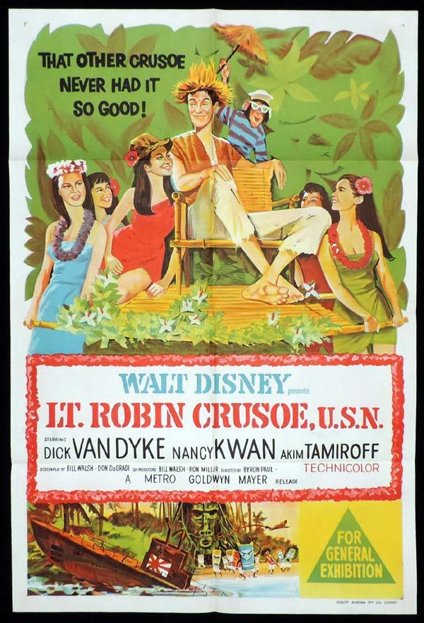 LT. ROBIN CRUSOE One Sheet Movie Poster Dick Van Dyke Disney