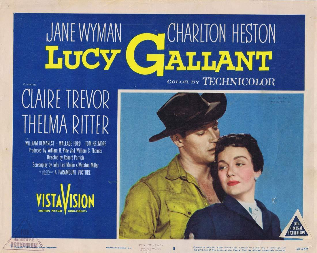LUCY GALLANT Vintage Lobby Card 8 Jane Wyman Charlton Heston Claire Trevor