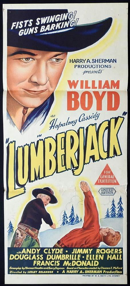 LUMBERJACK Original daybill Movie Poster Hopalong Cassidy William Boyd
