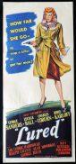 LURED Original Daybill Movie Poster Lucille Ball Boris Karloff Film Noir